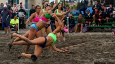 USA vs Argentina Women Beach Handball blocking shot