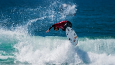 Gabriel Medina getting air surfing Hurley Pro third