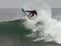 Brett Simpson getting air surfing Lowers Hurley Pro 2016