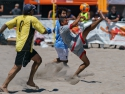 Los Angeles Beach Soccer Team Hard Kick