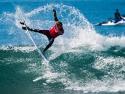 John John Florence getting air surfing Trestles Hurley Pro 2017