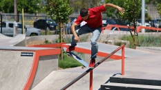 Julian Christianson Landing a Tail Grind Boarder AM 2018