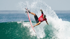 Defending US Open champion Kanoa Igarashi getting the fins out of the water
