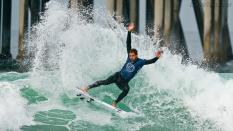Jorgann Couzinet from France doing a big cutback surfing 2019