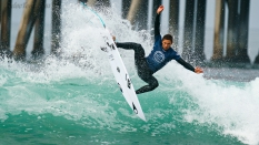 Jorgann Couzinet from France surfing the US Open 2019